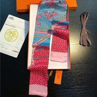 Gvkdcy nuevo diseño de cinta de seda principal de doble capa impresa bufandas de seda de las mujeres de la moda de la moda de la marca de la marca de la marca Cinta pequeña larga de 7 * 100 cm