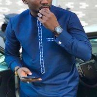 HD Mens Pathiki рубашка брюки костюм плюс размер мужчин африканская одежда с длинным рукавом верхняя часть с брюком набор 2 шт. Outfit Вышивка наряд Q1205