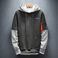 April Momo Sweatshirt Männer Hip Hop Patchwork Langarm Pullover Kontrast Plus Samt Dicke Feste Farbe Paar Hoodie Männer P 201201
