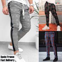 2020 New Fashion Mens Pants Hip Hop Korean Plaid Slacks Fitness Workout Skinny Joggers Pants Trousers Harajuku Sport Casual X1116