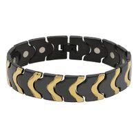 سوار الفولاذ المقاوم للصدأ 16 ملليمتر عرض الرجال مجوهرات المغناطيس أساور الصحة فراغ أيون الطلاء IP Blackgold الإسورة