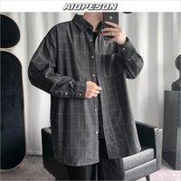 Homme occasionnel Chemises Aiopeson Harajuku chemise à carreaux Hommes 2021 Springwear Streetwear coréen manches longues poche hip hop masculin