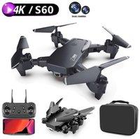 2021 Nuova Dual fotocamera Drone 4K Mini Pieghevole Pieghevole Aeree Altezza Gesto Photo Quattro Asse Aerial Telecomando Telecomando Grigi Drones giocattolo S60
