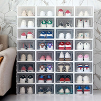 6 قطع مربع الأحذية سميكة شفافة طوي صناديق تخزين الأحذية حفظ الفضاء منظمي الأحذية البلاستيكية رف مجلس الوزراء Y1116