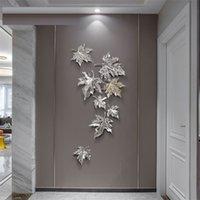 WU Chen Long Light Light Luxury Moto Leaf Leaf Wall Hanging Home Decor Resin Artigianato Sfondo creativo Decorazione della parete stereo Orn R4384 201130