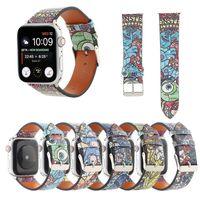 الكرتون حقيقي جلد طبيعي حزام الذكية watchband ل أبل ووتش العصابات سوار iwatch 3 4 5 SE 6 سلسلة 38 ملليمتر 40 ملليمتر 42 ملليمتر 44 ملليمتر