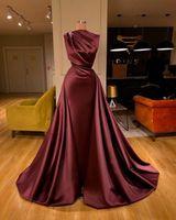 Arapça Dubai Burgundy Abiye 2021 Zarif Saten Dantelli Sweep Tren Balo Parti Abiye Artı Boyutu Kadınlar Örgün Robes de Soirée AL7798