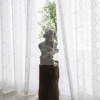 Bordado blanco Cortinas de tul para sala de estar Curva de geometría moderna Cortina Voile Sheer Voile para Dormitorio Puerta de codazo Custom