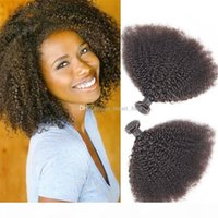 뜨거운 판매 몽골어 9A 아프리카 kinky 곱슬 인간의 머리카락 번들 처리되지 않은 변태 곱슬 머리 짜는 흑인 여성을위한 3 번들 로트