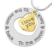 Chains IJD9447 Stainless Steel Cremation Jewelry I Love You To The Moon And Back Heart Pendant For Ashes Urn Memorial Keepsake Necklace