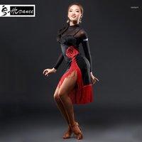 2019 HCCANCE Yeni Marka 1 Renk Latin Dans Elbise Kadınlar Siyah S-XXL Balo Salonu Tango Rumba Chacha Dans Elbiseler Sıcak Satış A313011