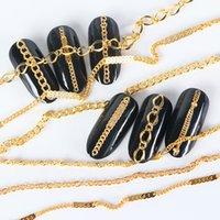 6pcs strass pour Nails Lien Chaîne Nail Art Or Alliage Gold Décoration Strass 3D Diamant Stone Charm Bijoux Accessoires JIFB01-04