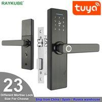 Raykube WiFi Fechadura eletrônica da porta com Tuya app remotamente biométrico digital digital senha senha senha / chave desbloquear fg5 plus 201013