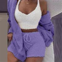 Femmes Coral Velvet Pyjamas Ensemble Spring Automne Hiver Pyjamas 3 Trois pièces Ensemble de vêtement de nuit Tops Short Coffret Taille S-3XL