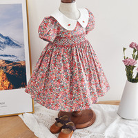 Infant Girl Smocked Floral Dress Baby Smock Frocks Children Spanish Boutique Clothes Baby Girl Spain Hand Made Smocking Dress F1130