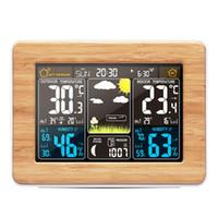 خشبي إنذار درجة الحرارة على مدار الساعة الرقمية مقياس الرطوبة اللاسلكية توقعات الطقس محطة الالكترونية ووتش مكتب الجدول ساعات لون العرض