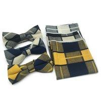 Мода мужская все хлопчатобумажная клетчатая клетчатая галстука карманное полотенце три куска костюма аксессуары свадебный банкет британский колледж стиль