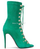 Сапоги Зеленые замшевые шнуровки короткие женщины сексуальные открытые пальцы ступеньки черные бежевые коричневые лодыжки дамы большой размер