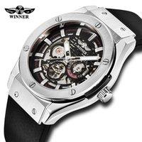 Vincitore del marchio di lusso orologio automatico uomo moda scheletro orologi meccanici metallo 3d bullone bullone cinturino in gomma da polso Y1214