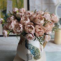 Shabby Chic Buket Avrupa Pretty Gelin Düğün Küçük Şakayık Ipek Çiçekler Ucuz Mini Sahte Çiçekler Ev Dekorasyon Için Indoor1