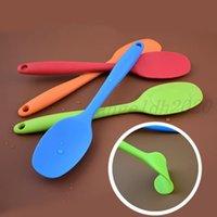 Silikonlöffel klein All-in-One All-Inclusive-Griff-Silikon-Suppe-Löffel-Schutz-Non-Stick-Topf Suppentopf-Muschel-Kratzlöffel Küchenutensilien