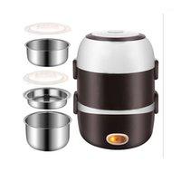 Fogões de arroz Mini Fogão Elétrico Aço Inoxidável 2/3 Camadas Steamer Refeição Portátil Aquecimento Térmico Lunch Box Quente 220v1