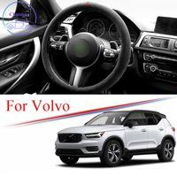 Alcantara coche cubierta de dirección de gamuza de gamuza para VOLVO XC40 XC60 XC90 S60 S60 S90 V70 V90 Universal 38cm 15 pulgadas Accesorios interiores