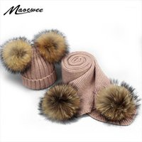 Шляпы, шарфы перчатки наборы настоящего енота меховой мех помпом шерстяной шапка шарф для детских женщин зима вязаные с помпой дети женские толстые тепло