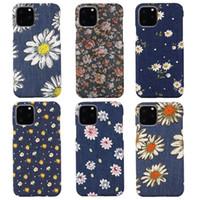 Denim Jean Chrysanthemum Impressão Floral Back Cover Phone Case para iPhone 12 Mini 11 Pro Max XR XS 7 8 PLUS Samsung