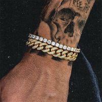 12mm épais bijoux hip hop hip hop miami cubain chaîne chaîne de tennis bracelet doré argent rosegold couleurs