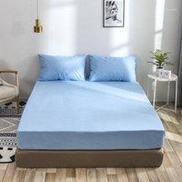 55 2/3 pcs conjunto de camas à prova d 'água sólida conjunto de cama macia chapa equipada fronha gêmea rainha completa king1