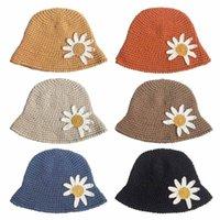 حافة واسعة القبعات كبيرة ديزي المرأة الشتاء الصوف ناحية متماسكة دلو قبعة قبعة قبعة