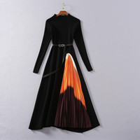 1130 2021 Robe de piste marquée Même style robe à manches longues Col Col Col Kint Robe Femme Vêtements Mode de luxe SH