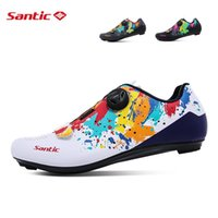 Calçados Calçado Sapatos Santic para Homens Mulheres MTB Road Bike Sneakers Leve Respirável Bicicleta Profissional Bloqueio Atlético