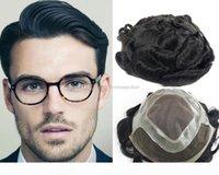 Бесплатная доставка натуральный черный цвет Topee для мужчин Полный швейцарский кружевной волосы кусочки бразильские девственницы замены волос