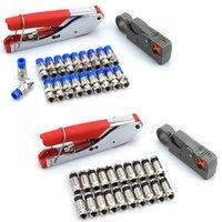 1 Установить коаксиальный кабель проволоки rg6 / rg59 f сжатие 20шт разъем инструмент обжимные плоскогубцы проводные зачистки плоскогубцы комплект y200321