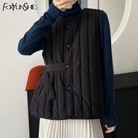여성용 조끼 Foryunshes 겨울 코튼 조끼 여성 겉옷 가을 여성 슬림 민소매 벨트 허리 코트 자켓 따뜻한 방풍 상위 2021