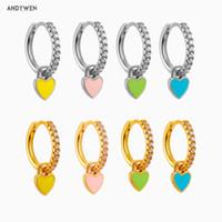 Andywen 925 plata esterlina oro colorido esmalte corazón piercing pendiente colgante colgante encanto gota pendiente 2020 cristal joyería y1130