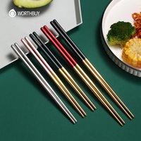 Chopsticks Worthbuy 5 pares colorido conjunto 304 aço inoxidável para sushi sticks antiderrapante reutilizável