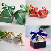 Wedding celebrazione regalo avvolgiti sposa nastro di seta diamanti pagoda a forma di pagoda scatola di caramelle a forma di piccolo grande nuovo modello scatole di imballaggio blu di alta qualità 0