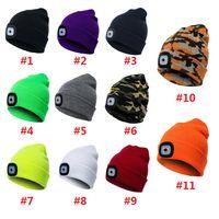 2021 LED Lighting Knitted Hats Women Men Camping Cap Travel Hiking Climbing Night Hats Winter Beanie Light Up Caps