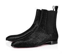 Boda caballero botas rojas de diseño de fondo Zapatos de Hombre Zapatos Roadie Orlato plana Media informal, Súper Perfecto bota del tobillo para los hombres leopardo