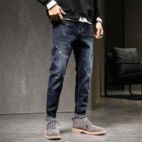 2021 бренд мужчины Новые высококачественные моды джинсы горячие джинсы для молодых людей продажа мужчин тонкие брюки дешевые прямые брюки бесплатная доставка