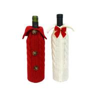 Vino di Natale Borse copertura della bottiglia di vino lavorato a maglia Maglioni Abito Xmas Party casa Dinner Table Decorations JK2011XB