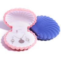 جميل شل شكل المخملية المجوهرات مربع الزفاف خاتم خاتم الزفاف للأقراط قلادة سوار عرض هدية مربع حامل FFB4603
