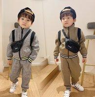 Mode Jungen Plaid Sets Kinder Gitter Reißverschluss Jacke Outwear + Casual Hosen 2 stücke Frühling Kinder Sport Kleidung A5375