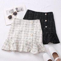 Ashgaily 2021 neue Tweed Röcke für Frauen Hohe Taille Abnehmen Röcke Herbst Spring 2020 Buttons Tweedwolle Mini Rock1