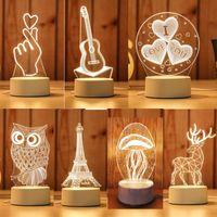 Lampe 3D LED Creative 3D LED Lumières de nuit de nuit de nouveauté Illusion Lampe de nuit 3D Illusion Lampe de table pour la lumière décorative de la maison