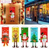 Рождественские украшения Huiran 2021 Snowman Santa Santa Claus Ткань висит Флаг Мерри для дома Рождественские украшения Баннеры1
