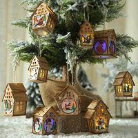 Decorações de Natal LED luz de madeira casa decoração árvore elk santa cláusula boneco de neve pendurado ornamentos Navidad fada presente # 50g